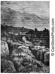 The earthquake, vintage engraving. - The earthquake, vintage...