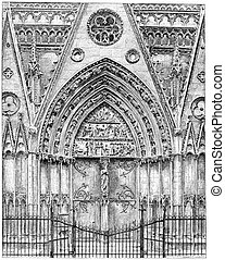 Exterior woodwork of the choir of Notre-Dame, vintage...