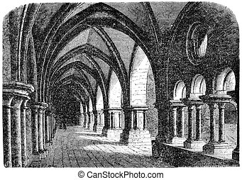 Cloister of the abbey of luxeuil, vintage engraving. -...