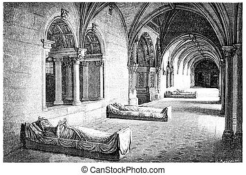 Cloister of the Abbey of Fontevrault, vintage engraving. -...