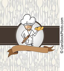 Baker chef cartoon menu badge