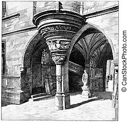 The devoted to Gothic arches, vintage engraving - The...