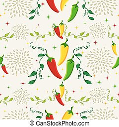 Mexican chili pepper pattern illustration - Mexican food...