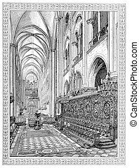 Choir of Notre-Dame de Paris, vintage engraving. - Choir of...