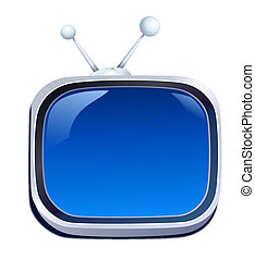 television - drawing of blue television in a white...