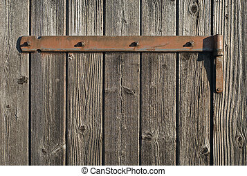 Weathered Wood with Rusty Hinge - Aging and Weathered Wood...