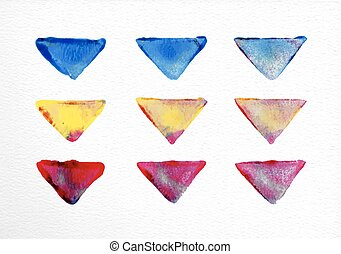 Watercolor triangle set hand drawn illustration