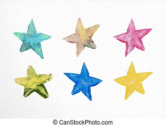 Watercolor stars set hand drawn illustration