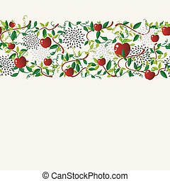 Red apple food seamless pattern garland