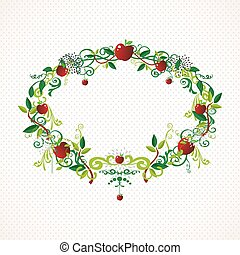 Red apple wreath cute illustration