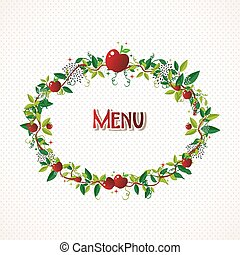 Red apple wreath illustration