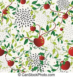 Red apple food seamless pattern