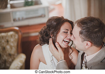 laughing bride - The wedding ceremony beautiful bride and...