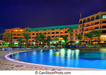 night hdr photo from egypt resort. saturated mystic colors.