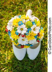 wedding shoes and bouquet - The wedding ceremony beautiful...
