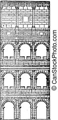 Section and elevation of the Colosseum, completed under...