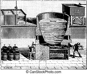 Boiler for the manufacture of soft soap, vintage engraving....