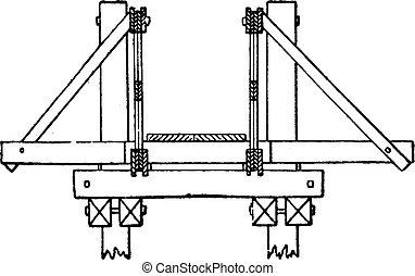 Cross section of the bridge of Pont Saint-Michel, vintage...