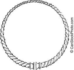 Torque Gauls, vintage engraving. - Torque Gauls, vintage...