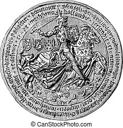 Great Seal of Charles the Bold, Duke of Burgundy, vintage engraving.