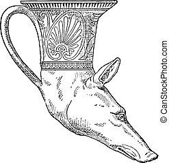 Rhyton head of greyhound, vintage engraving. - Rhyton head...