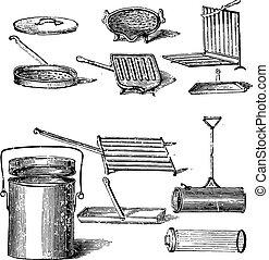 Grills, vintage engraving.