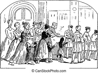 Shopping street in Venice, vintage engraving.