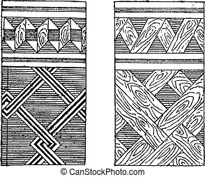 Parquet and mosaic marquetry, vintage engraving.