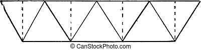 Simple system has large triangles, vintage engraving.
