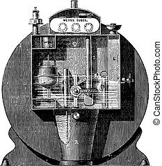 Front view of the normal timer, the anterior wall of the boot, vintage engraving.