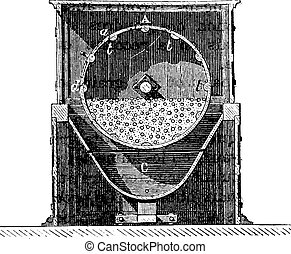 Tonne mixer, Axis of rotation, vintage engraving.