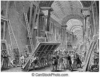 Devastation of the Louvre Museum, vintage engraving -...