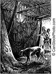 A man died in this hut, vintage engraving - A man died in...