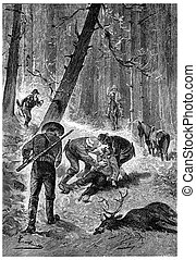 The Yankee had perished in an accident, vintage engraving. -...