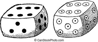 Ordinary dice, vintage engraving. - Ordinary dice, vintage...