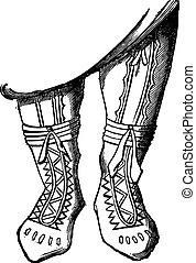 Adorned boots, vintage engraving - Adorned boots, vintage...
