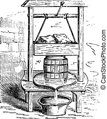 A cheese press, vintage engraving.