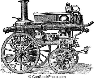 Fire pump steam and direct three-body movement balance, vintage engraving.