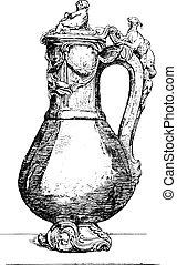 Vase flower jasper mounted chased gold, vintage engraving.