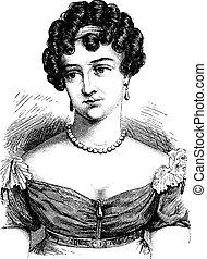 Comtesse Cayla, vintage engraving. - Comtesse Cayla, vintage...