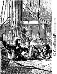 All three fell to the overthrown, vintage engraving.