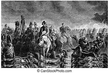 The evening of Waterloo, vintage engraving. - The evening of...