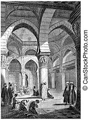 Algiers, Interior of a mosque, vintage engraving. - Algiers,...