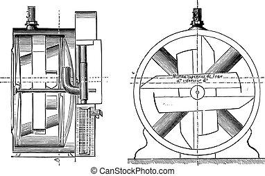Gas meter, invariable measure, vintage engraving. - Gas...