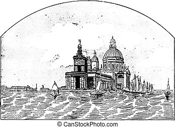 Customs in Venice, vintage engraving.