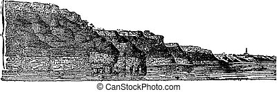 Jurassic visible means land on the cliffs of Calvados,...