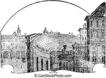 Amphitheater of Verona, vintage engraving. - Amphitheater of...