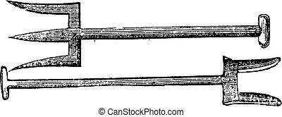 Forks, vintage engraving.