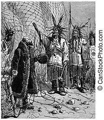 The Indian came forward and said: My brother is a great leader, vintage engraving.
