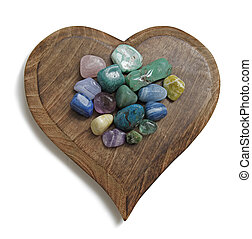 Chakra Crystals on wooden plaque - Heart shaped wooden...